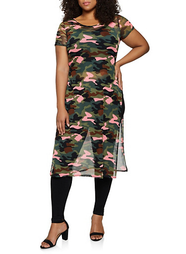 Plus Size Mesh Camo Maxi Top