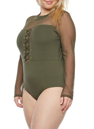 Plus Size Lace Up Bodysuit with Mesh Sleeves,OLIVE,large