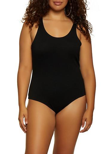 Plus Size Sleeveless Ponte Bodysuit,BLACK,large