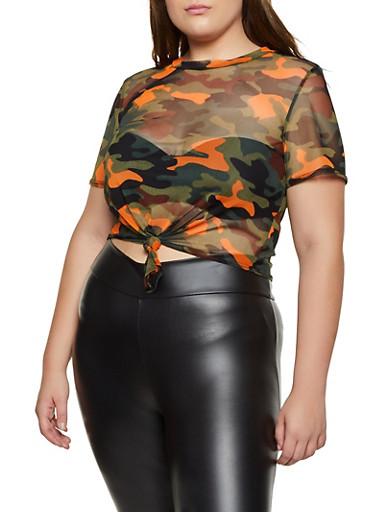 Mesh Camouflage Tie Front Tee,NEON ORANGE,large
