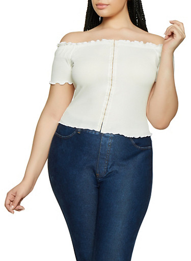 Plus Size Off the Shoulder Rib Knit Top   3924069390022,IVORY,large