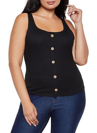 Plus Size Button Ribbed Tank Top,BLACK,large