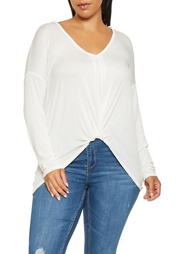 Plus Size Twist Front Top,WHITE,large