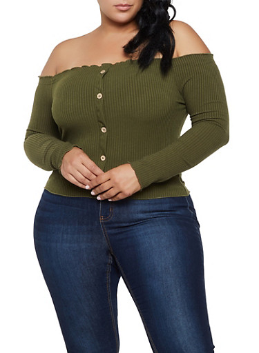 Plus Size Rib Knit Off the Shoulder Top,OLIVE,large