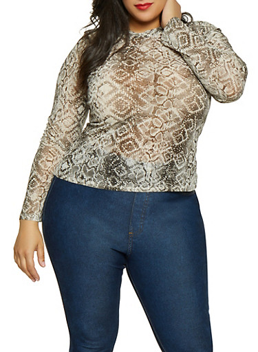 Plus Size Snake Print Mesh Top,BLACK/WHITE,large