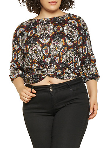 Plus Size Printed Twist Front Top,BLACK,large