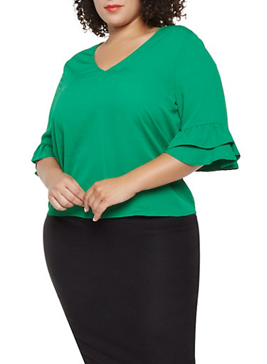 Plus Size Crepe Knit Tiered Sleeve Blouse,GREEN,large