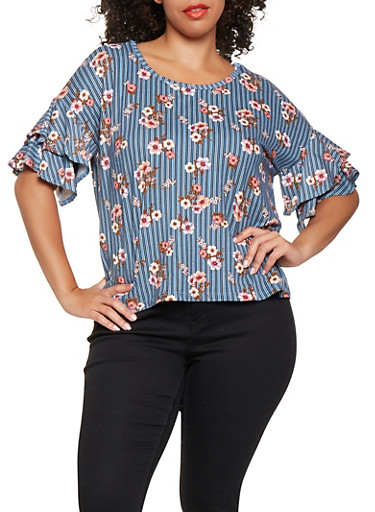Plus Size Printed Tiered Sleeve Top,NAVY,large