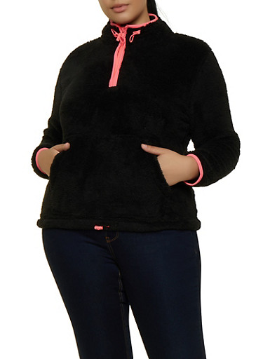 Plus Size Contrast Trim Faux Fur Sweatshirt,NEON PINK,large