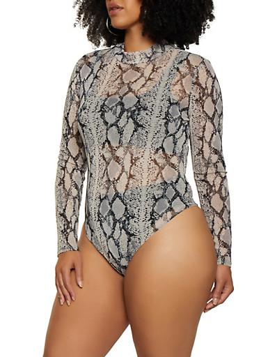 Plus Size Snake Print Mesh Thong Bodysuit,BLACK/WHITE,large