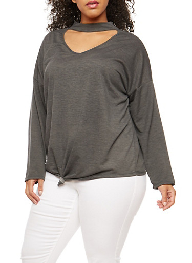 Plus Size Knot Front Choker Neck Top,CHARCOAL,large
