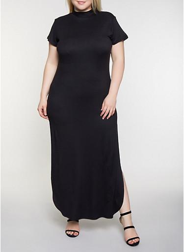 Plus Size Soft Knit T Shirt Maxi Dress,BLACK,large