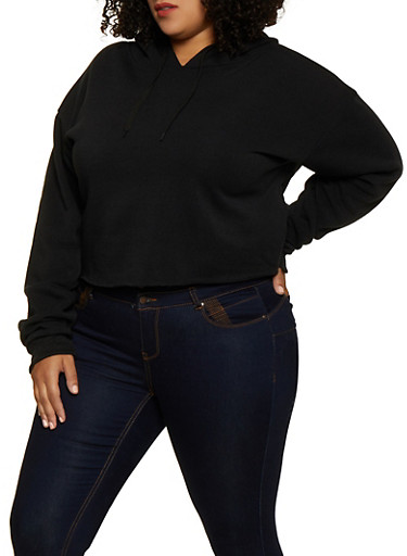 Plus Size Raw Hem Pullover Sweatshirt,BLACK,large