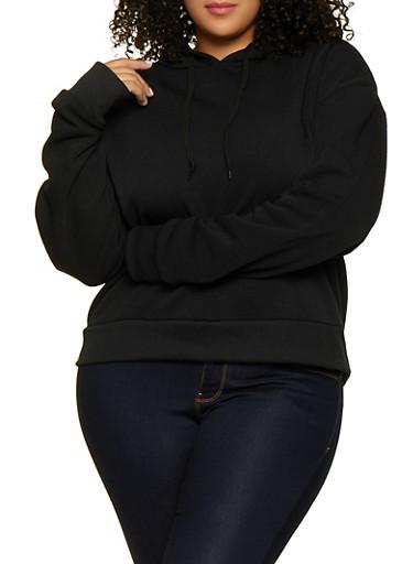 Plus Size Hooded Fleece Sweatshirt,BLACK,large