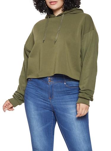 Plus Size Hooded Sweatshirt,OLIVE,large