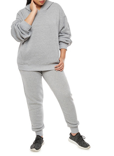 Plus Size Pleated Sleeve Sweatshirt,HEATHER,large