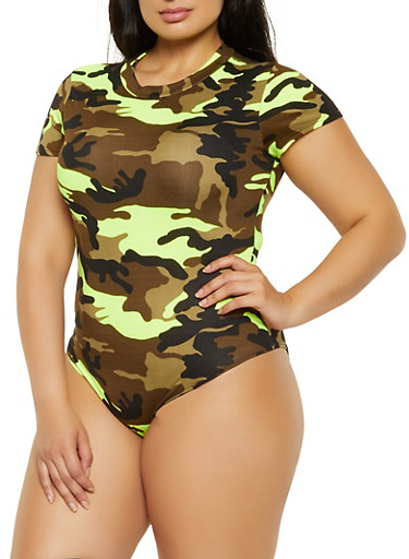 Plus Size Soft Knit Camo Bodysuit,GREEN,large