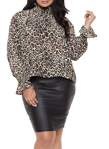 Plus Size Leopard Print Smocked Neck Blouse,BROWN,large