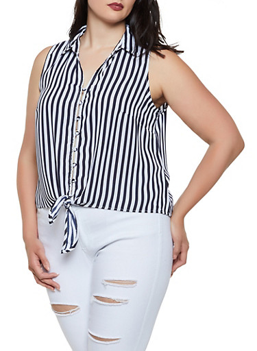 Plus Size Striped Sleeveless Button Front Top,NAVY,large