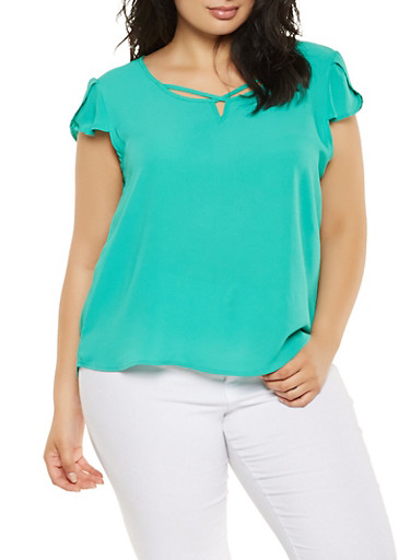 Plus Size Crepe Knit Tulip Sleeve Top,GREEN,large