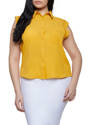 Plus Size Crochet Trim Sleeveless Shirt,MUSTARD,large