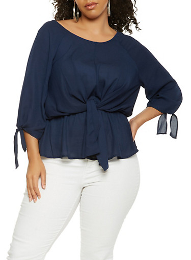 Plus Size Tie Front Top,NAVY,large