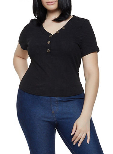 Plus Size Rib Knit Half Button Top,BLACK,large