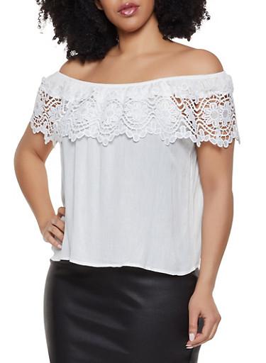 Plus Size Off the Shoulder Crochet Trim Top | 3925069390947,WHITE,large