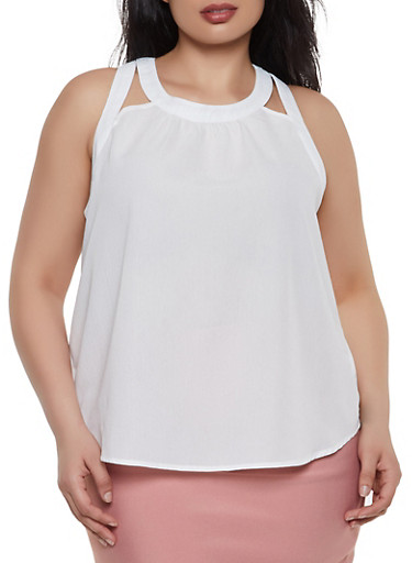 Plus Size Sleeveless Cut Out Top,WHITE,large