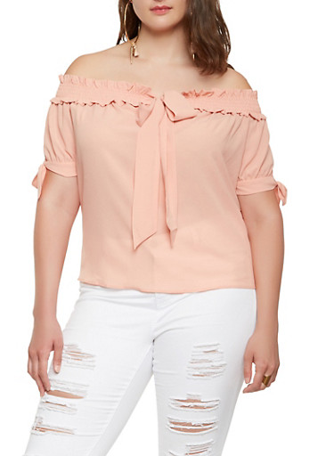 Plus Size Tie Front Off the Shoulder Top,BLUSH,large
