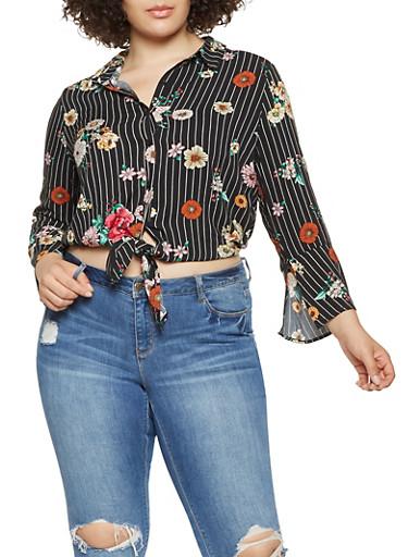 Plus Size Floral Striped Tie Front Shirt,BLACK,large