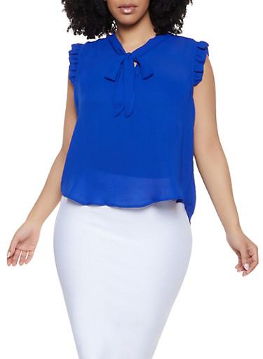 Plus Size Tie Neck Ruffle Trim Top,RYL BLUE,large