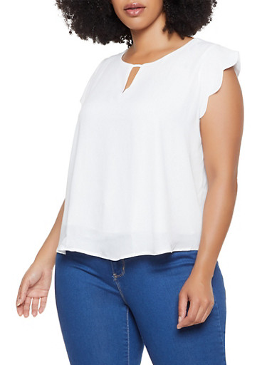 Plus Size Scalloped Cap Sleeve Blouse,WHITE,large