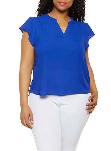 Plus Size Flutter Sleeve Blouse | 3925069399035,RYL BLUE,large