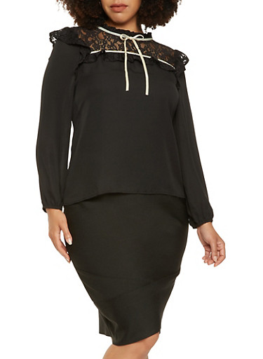 Plus Size Lace Yoke Top,BLACK/WHITE,large