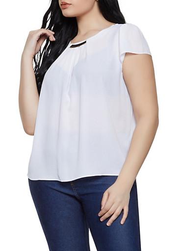 Plus Size Cap Sleeve Metallic Neck Blouse,WHITE,large
