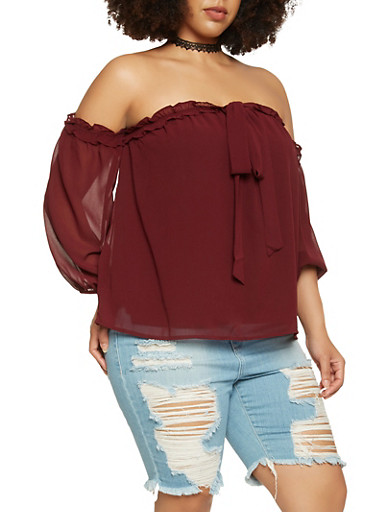 Plus Size Ruffle Trim Off the Shoulder Top,WINE,large