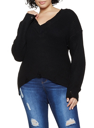 Plus Size Distressed Detail Long Sleeve Sweater,BLACK,large