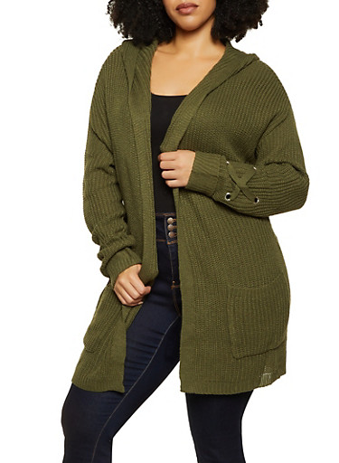 Plus Size Two Pocket Hooded Cardigan,OLIVE,large