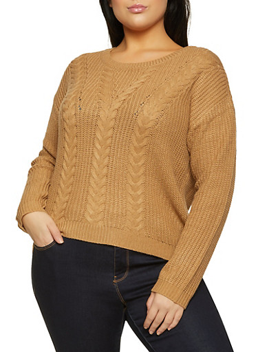Plus Size Lace Up Back Cable Knit Sweater,TAN,large
