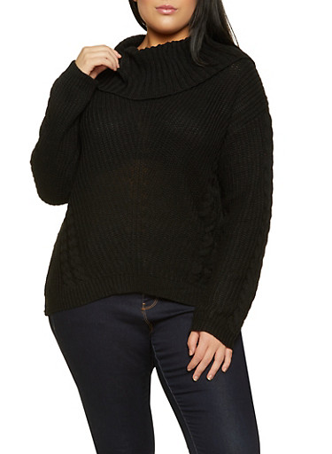 Plus Size Cowl Neck Cable Knit Sweater,BLACK,large