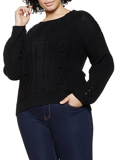 Plus Size Cable Knit Pom Pom Sweater,BLACK,large