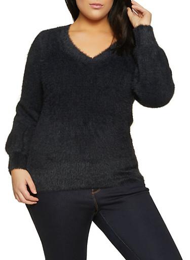 Plus Size Eyelash Knit Sweater,BLACK,large