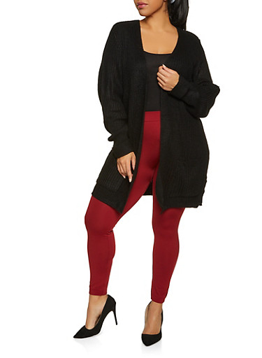 Plus Size Fixed Cuff Cardigan,BLACK,large