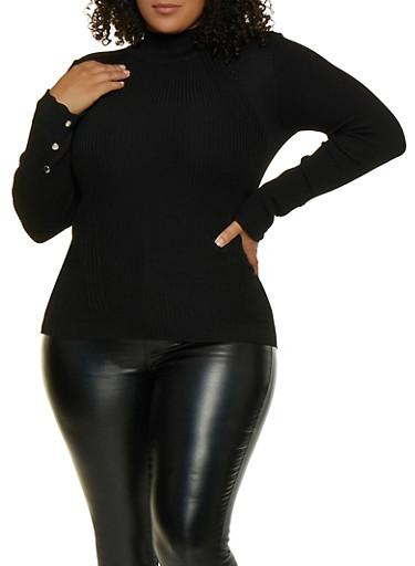 Plus Size Mock Neck Sweater,BLACK,large