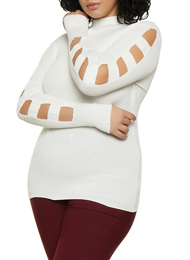 Plus Size Cut Out Sleeve Ribbed Sweater,WHITE,large