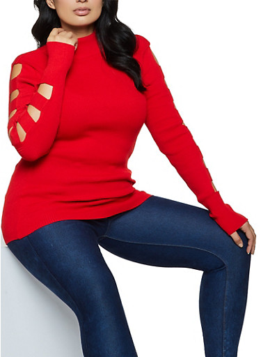 Plus Size Cut Out Sleeve Ribbed Sweater by Rainbow