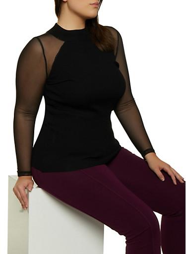 Plus Size Mesh Sleeve Sweater,BLACK,large
