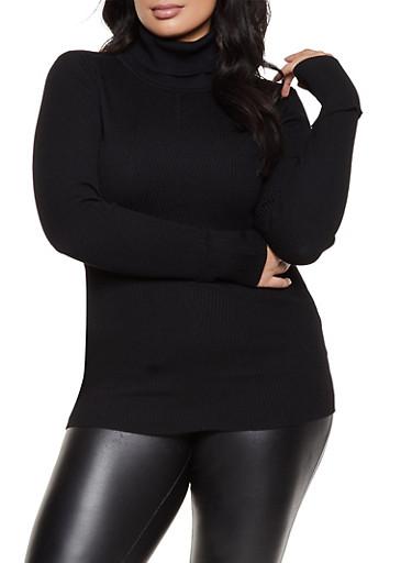 Plus Size Ribbed Knit Turtleneck Sweater,BLACK,large