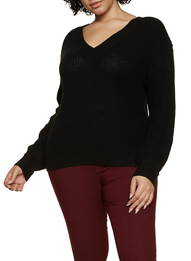 Plus Size Basic V Neck Sweater,BLACK,large